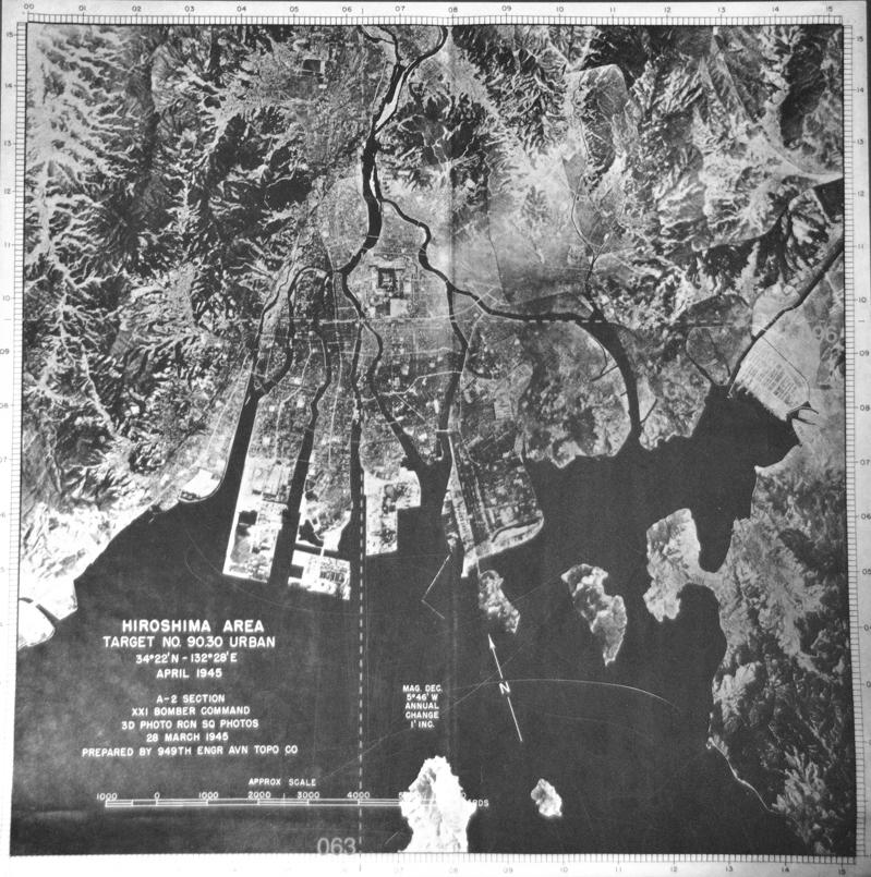 Hiroshima_A_Bomb_Target Map_BW